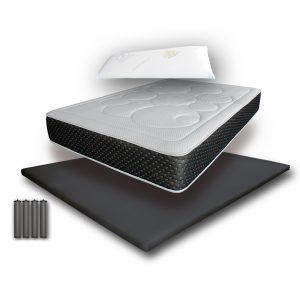Pack Almohada visco + Cochón Visco Active + Base 3D + Juego de patas base